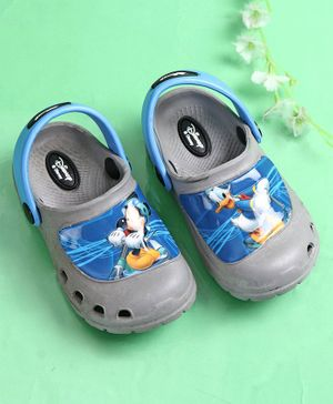 Cute Walk by Babyhug Clogs Mickey Mouse & Donald Duck Print - Grey