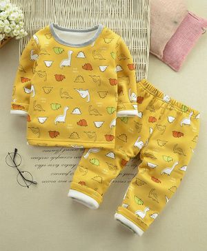 Pre Order - Awabox Dino Print Full Sleeves Night Suit - Yellow