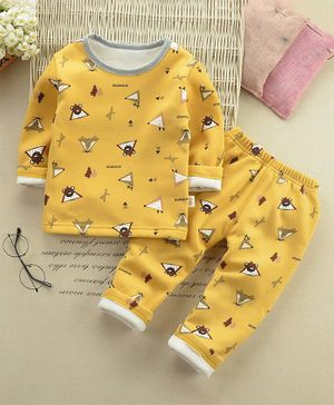Pre Order - Awabox Fox Print Full Sleeves Night Suit - Yellow
