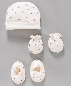Ben Benny Cap, Mittens & Booties Set Star Print - White