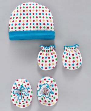 Ben Benny Cap, Mittens & Booties Set Dot Print - White
