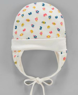 Ben Benny Cap with Tie Knot Floral Print - Off White