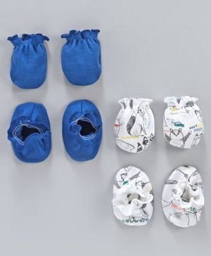 Ben Benny Solid and Printed Mittens & Booties Pack of 4 - Blue White