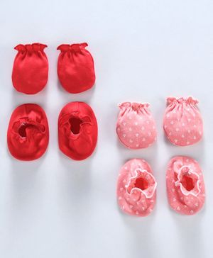 Ben Benny Solid and Printed Mittens & Booties Pack of 4 - Red Pink