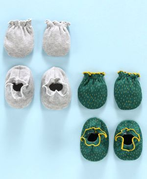 Ben Benny Solid and Printed Mittens & Booties Pack of 4 - Grey Green