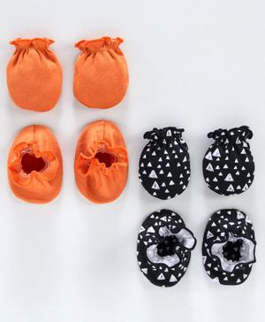 Ben Benny Solid and Printed Mittens & Booties Pack of 4 - Orange Black