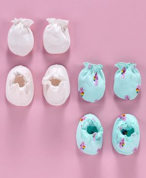 Ben Benny Solid and Printed Mittens & Booties Pack of 4 - Blue Light Pink