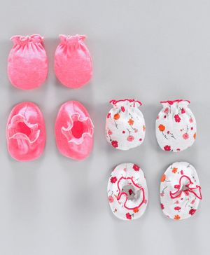 Ben Benny Solid and Printed Mittens & Booties Pack of 4 - White Pink