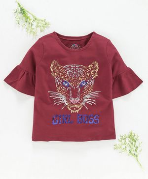 Ventra Three Fourth Sleeves Girl Boss Print Top - Maroon