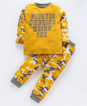 Ventra Full Sleeves Little Soldier Print Night Suit - Yellow