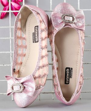 Cute Walk by Babyhug Party Wear Belly Shoes Bow Appliques - Pink