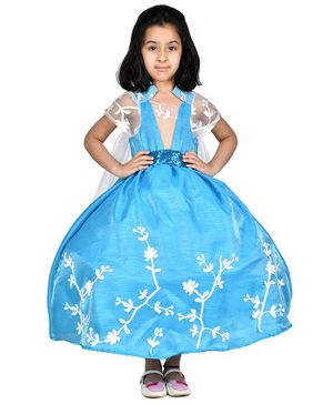 Samsara Couture Flower Embroidered Half Sleeves Ball Gown - Blue
