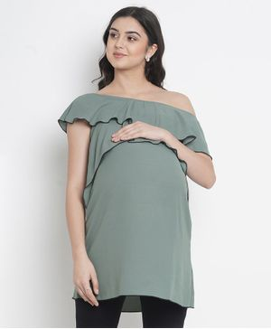 Mine4Nine Solid Short Sleeves Maternity Top - Grey