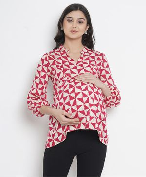 Mine4Nine Triangle Print Full Sleeves Maternity Top - Pink