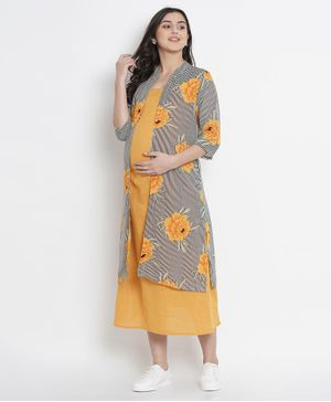 Mine4Nine Floral Print Three Fourth Sleeves Maternity Dress - Mustard Yellow