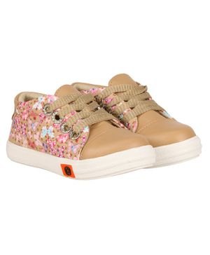Buckled Up Butterfly Print Lace Up Shoes - Brown