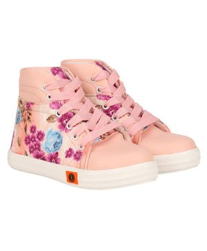 Buckled Up Flower Lace Up Ankle Shoes - Peach