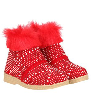 Buckled Up Stone Beads & Fur Boots - Red