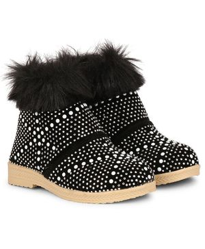 Buckled Up Stone Beads & Fur Boots - Black