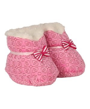 Buckled Up Bow Booties - Dark Pink
