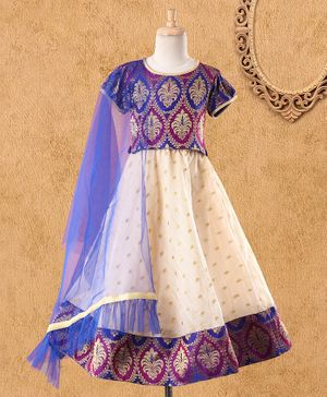 Babyhug Short Balloon Sleeves Lehenga Set With Brocade Work - Violet White