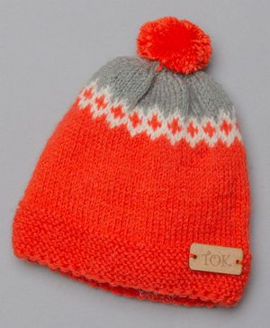The Original Knit Pom Pom Detailed Cap - Orange
