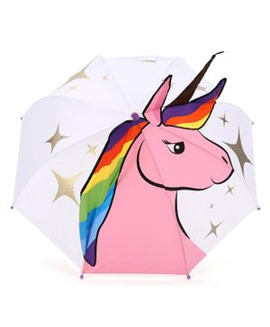 Babyhug Umbrella 3D Unicorn Design - Pink White