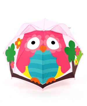 Babyhug Umbrella 3D Owl Design - Pink