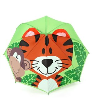Babyhug Umbrella 3D Tiger Design - Orange Green
