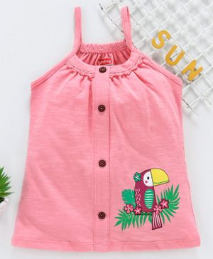 Babyhug Singlet Top Bird Print - Peach