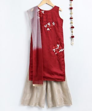 Dhyana Fashions Flower Embroidered Sleeveless Kurta With Palazzo & Dupatta - Maroon