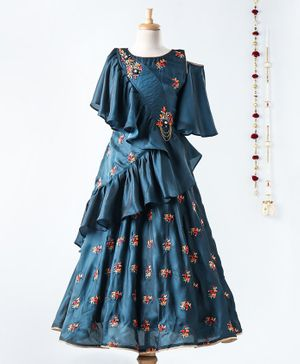 Dhyana Fashions Flower Embroidered Flared Sleeveless Ruffled Gown - Navy Blue