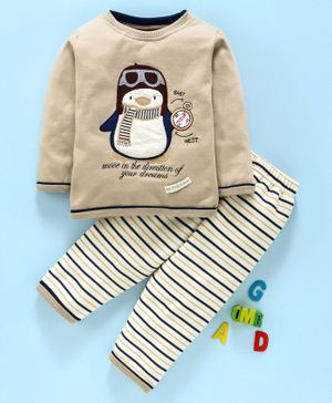 Ollypop Full Sleeves Winter Wear Night Suit Penguin Patch - Beige