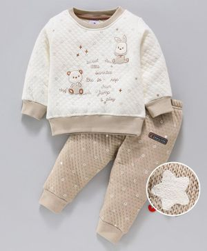Ollypop Full Sleeves Winter Wear Night Suit Animal Patch - Beige