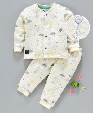 First Smile Full Sleeves Winter Wear Quilted Night Suit Animal Print - Cream