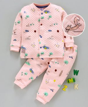 First Smile Full Sleeves Winter Wear Quilted Night Suit Animal Print - Peach