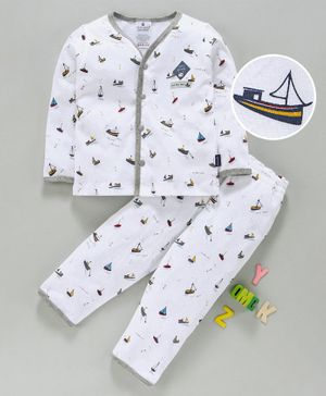 First Smile Full Sleeves Night Suit Boat Print - White