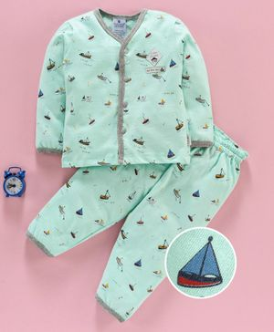 First Smile Full Sleeves Night Suit Boat Print - Sea Green