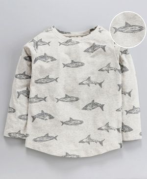 Nino Bambino Full Sleeves Fish Print Tee - Grey