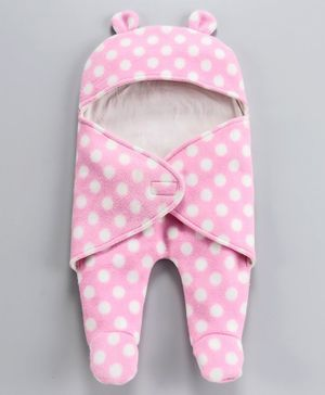 Nino Bambino Full Sleeves Polka Dot Print Sleep Suit - Pink