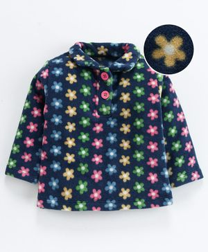 Nino Bambino Full Sleeves Floral Print Top - Navy Blue