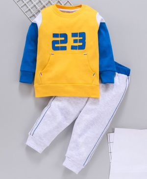 Babyhug Full Sleeves Tee & Track Pant Number 23 Patch - Yellow Grey