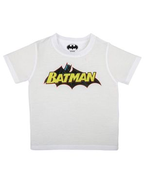 Batman By Crossroads Batman Text Print Half Sleeves T-Shirt - White