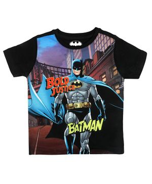 Batman By Crossroads Batman Bold Justice Text Print Half Sleeves T-shirt - Multi Colour