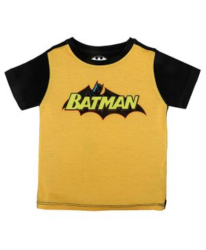 Batman By Crossroads Batman Text Print Half Sleeves T-shirt - Yellow