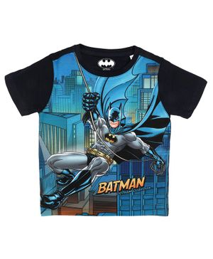 Batman By Crossroads Batman Gotham Guardian Print Half Sleeves T-shirt - Blue