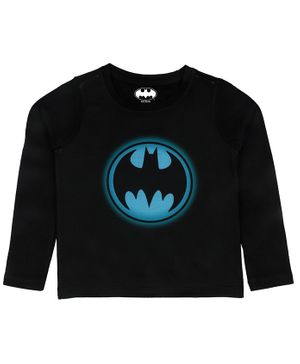 Batman By Crossroads Batman Glow Effect Logo Print Full Sleeves T-Shirt - Blue