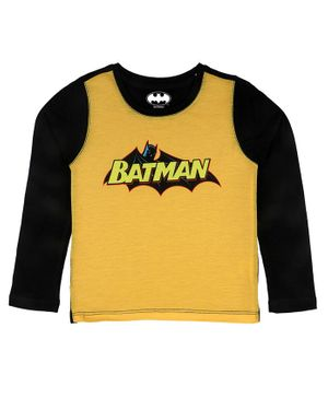 Batman By Crossroads Batman Logo Print Full Sleeves T-Shirt - Yellow
