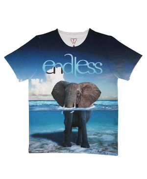 Wear Your Mind Half Sleeves Elephant Print Tee - Blue