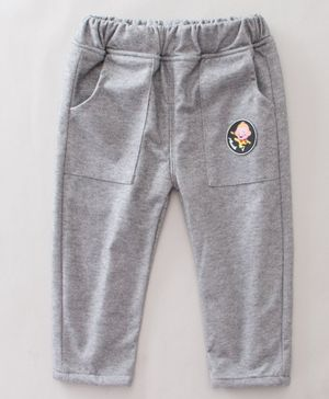 Pre Order - Awabox Cartoon Patch Detailed Full Length Lounge Pants - Light Grey
